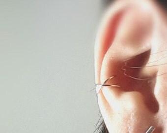 Sterling Silver Cartilage Cross Ear Cuff, No Pierce Ear Cuff, Cross Line Ear Cuff