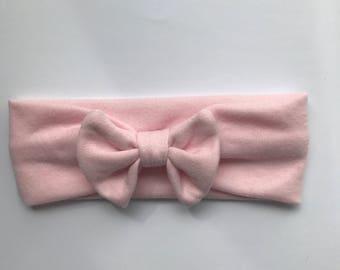 Turban style baby headband bow