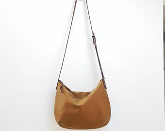 Myla Bag - Zip Top Waxed Canvas Crossbody Bag- Adjustable Shoulder Strap - Waxed Tan - Brown Leather