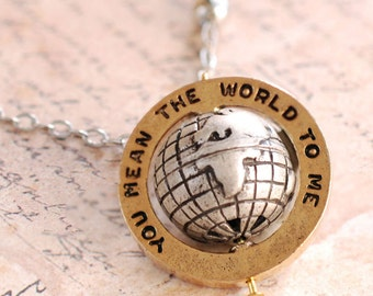 You Mean The World To Me Necklace, Inspirational Necklace, Stamped Necklace, Motivational Necklace, Quote Jewelry, Graduation, N315