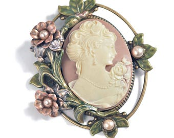 Cameo Brooch, Cameo Pin, Cameo Jewelry, Bridal Jewelry, Mother of the Bride, Victorian Pin, Victorian Bridal Pin, Wedidng Brooch P429