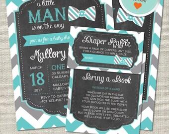 Little Man Baby Shower Invitation, Little Man Invitation, Little Man, Teal, Gray, Chevron | DIY