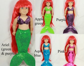 "Mermaid tail costume Halloween fits 18"" doll green Ariel aqua blue purple metallic"