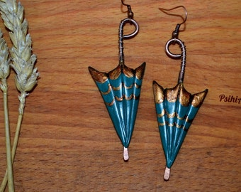 Polymer clay umbrella Umbrella earrings Umbrella jewelry Umbrella charms Polymer clay earrings Polymer clay jewelry Copper wire earrings
