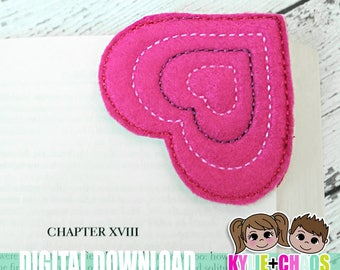 Heart Bookmarks ITH Embroidery Design