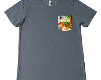 Butterflies and Flowers Pocket Shirt (Marianne North- Rhododendron Falconeri)