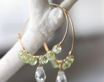 Green Amethyst and Peridot Hoop Earrings - Handmade