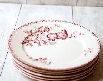 Early 1900s Ironstone Dinner Plates - Set of Six - Sarreguemines Favori - Red / Pink Transferware - Free Shipping Within the USA