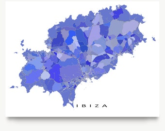 Ibiza Spain, Ibiza Map Print, Island Art Prints