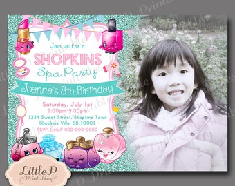 Shopkins Spa Party Invitation. Birthday Invitation with Photo. Turquoise Glitter Sparkle Invite. Shopkins Birthday Invitation. 015