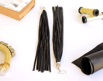 Тassel earrings, Long leather earrings, Boho  earrings,Black Leather earrings, Statement earrings, Long earrings, Leather earrings