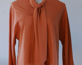 Burnt Orange 60's Vintage Long Sleeve Satiny Smooth Blouse with Tie Collar by Irving Nadler Montreal Size 11/12 NOS Made in Canada BTK-022