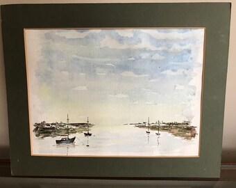 Lovely Mounted Unframed Original Watercolour Of Boats in a Harbour / Estuary