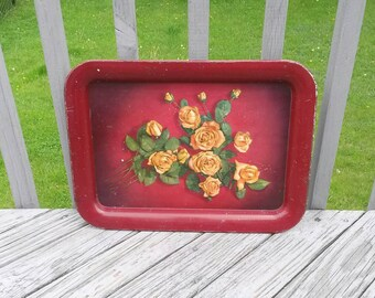 Vintage metal tray with roses