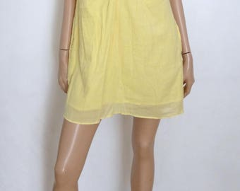 Robe MES DEMOISELLES Paris jaune et perles multicolores taille 36 - uk 8 - us 4