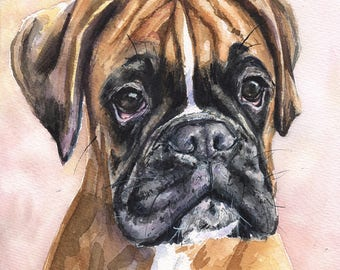 German Boxer  watercolor print of the Original Painting art cute Sweet Dog Decor deutsche boxer Deutscher Boxer