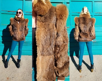Vintage 80s Rabbit Fur BOMBER Jacket Ombre Genuine Fur Chubby Coat | medium 90's Luxe Chic Rocker GRUNGE Russian Winter FUR Coat Jacket