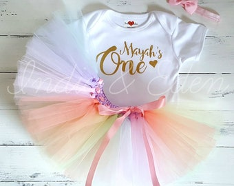 Birthday tutu baby outfit rainbow girls 1st one pastel headband babysuit birthday personalised set photo prop cake smash