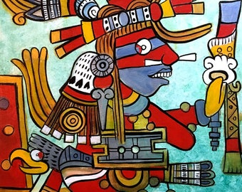Xiuhtecuhtli- The Lord of Fire, The Turquoise Deity Original Painting