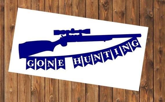 Free Shipping-Gone Hunting Yeti, Laptop Sticker, Buck, Deer, Hunting, Outdoors, Hunting, Fishing, Sports, Fisherman, Hunter,Gun Decal