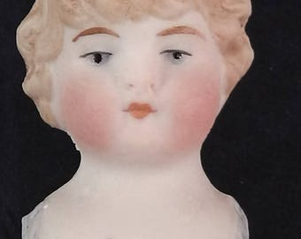 """antique,german,porcelain shoulderhead,dollhead,nicely moulded,1.63"""", Thuringia, blue suit part"""