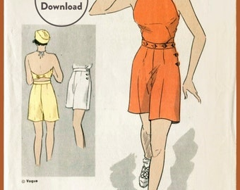 30s 1930s repro vintage women's sewing pattern buttoned crop top halter playsuit shorts beach romper bust 32 b32 Instant Download