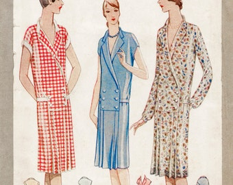 1920s 20s flapper day dress 3 styles pleated drop waist vintage sewing bust 32 repro