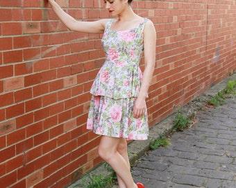 Vintage 1960s Rose Sundress / Cotton 1960s Dress / Floral Dress / Tiered Skirt / XS