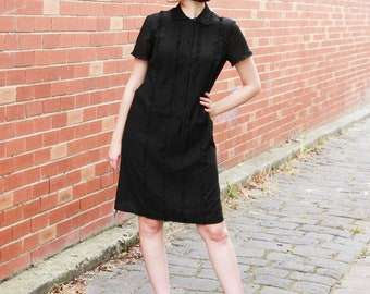 Vintage 1960s Black Ruffled Bib Black Dress / Button Front / Peter Pan Collar / Little Black Dress / M