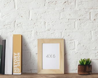 4x6 picture frame natural wood frames table setting display printable art frame - Natural Wood Frame