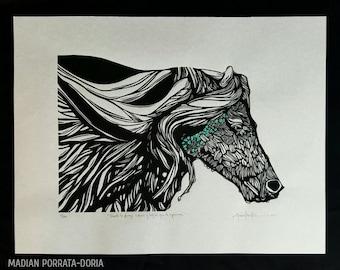 ORIGINAL HORSE LINOCUT - linoleum blockprint - handprinted