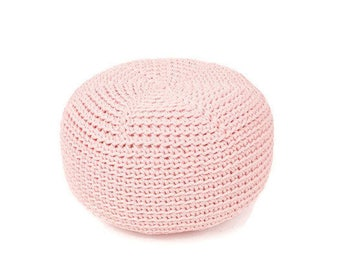 PINK crocheted  KID size POUF/floor cushion/ hypoalergic pouf/rope  poof/bean bag chair/ Ottoman/ footstool/rustic pouf