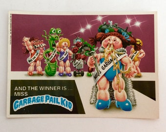 Vintage Garbage Pail Kids And The Winner Is Miss..., 1980's Garbage Pail Kids 5''x7'' Postcard #13, Collectible Trading Cards, Retro 1980's