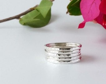 Rings. Stackable Rings. Sterling Silver Ring set of 5 thin stackable rings. Hammered ring set silver. Jewellery, Rings, Stackable rings.