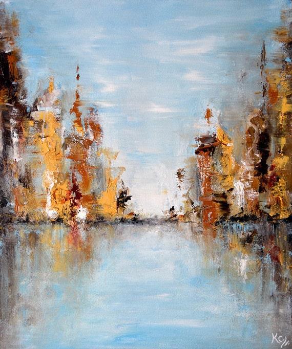 "Light Blue Abstract Decor - Abstract Landscape Painting, Abstract Horizon Wall Art, Water Reflection Art, Abstract Art ""Gaia Meditation 1"""