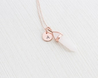 Rose Gold Initial and Rose Quartz Necklace, Disc Necklace, Personalised Jewellery, Rose Gold Necklace, Gift idea