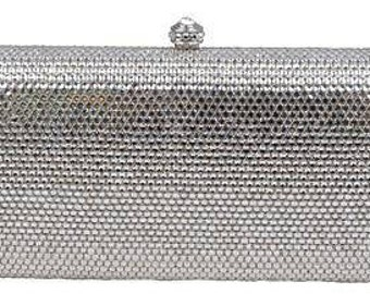 New Silver & Austrian Crystal -Hard Shell Clutch Evening Minaudiere Handbag