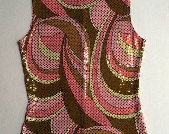 Women's Sequin Pucci Style Print Sleeveless Stretch Top- Sequined Shell- Size Medium- Pink-Yellow-Brown With Gold Sequins- By Tiffany U.S.A.