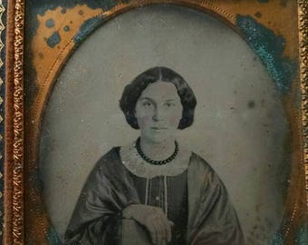 Antique Ambrotype of an Educated Woman, Wearing Mourning Jewelry With Black Bead Necklace, Holding a Book
