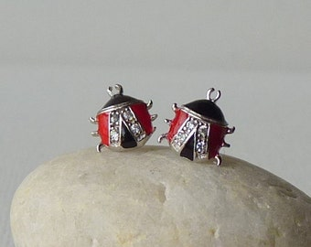 Lady Bug Cubic Zircon Sterling Silver Stud Earrings, Vintage Small Lady Bug Earrings,Girl Enameled Red and Black Bug Earrings, Tiny Earrings