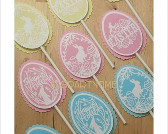 Easter Eggs cupcake toppers. Set of 12 Easter decoration