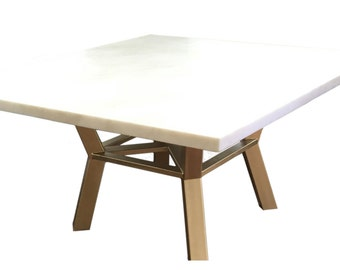 Square Pedestal Dining Table with Gold Base