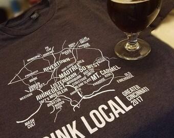 Drink Local Ohio Craft Brewery Map Tshirt© Hand printed soft vintage tee. Pre shrunk. Cincinnati Ohio shirts. Drink Local. Brewery Tour.