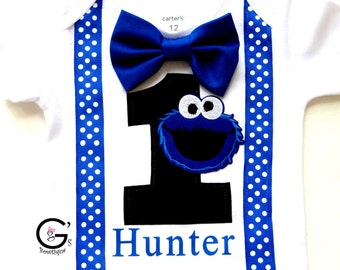 Sesame Street Cookie Monster Cake Smash 1st 2nd 3rd Birthday Outfit Toddler Bow Tie Shirt Tshirt Bodysuit Boys Personalized (optional)