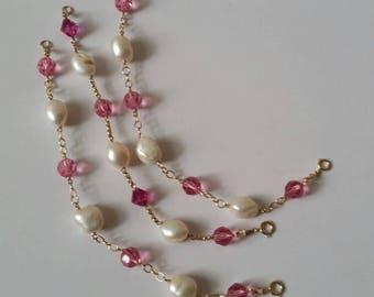 Freshwater baroque pearls swarovski crystals gold filled chain link bracelet