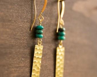 Brass Hammered Bar Earrings, Turquoise Drop Earrings with gold, Elegant Gold Earrings, Fancy Earrings, Fun versatile gold earrings