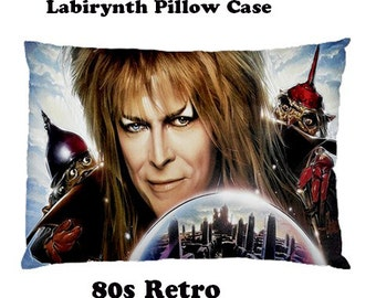 Labyrinth Pillow Case, pillow, bedding, bedrrom, glam rock, seventies, music, glam, music, 80s, films