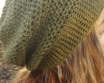 Army Green Slouchy Beanie Hat - Army Green Women's Hat - Green Crochet Hat - Green Winter Hat - Green Slouchy Hat - Green Winter Accessories