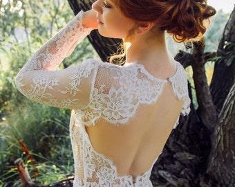 White lace dress, Open back wedding dress, backless wedding dress, Low back wedding dress, Ivory wedding dress, 0017 // 2015