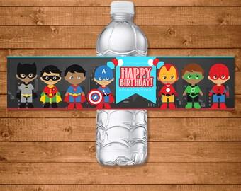 Superhero Drink Labels Chalkboard - Superhero Water Bottle Labels - Superheroes Party Favors - Superhero Printables - Diverse Superheroes